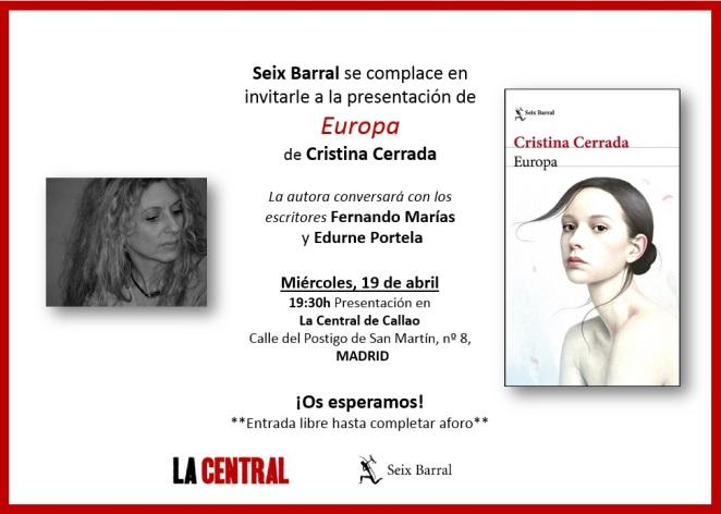 Europa - Cristina Cerrada - invitación La Central Callao -19 abr 2017
